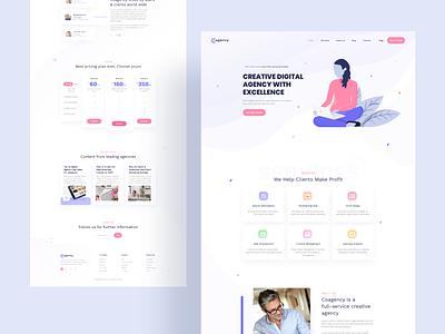 Cogency - SEO / Digital Agency Web UI Design color landing typography clean illustration interface web ux design ui