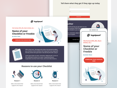Checklist Offer - Landing Page Template landing page design landing page design responsive design responsive email marketing