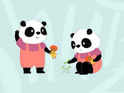 Character design - panda bears childrens book illustration playful childrens book panda bear pandas character design