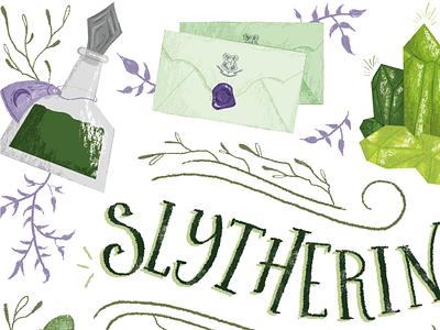 Slytherin poster harry potter lettering illustration slytherin hogwarts