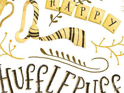 Hufflepuff poster harry potter lettering illustration hufflepuff hogwarts