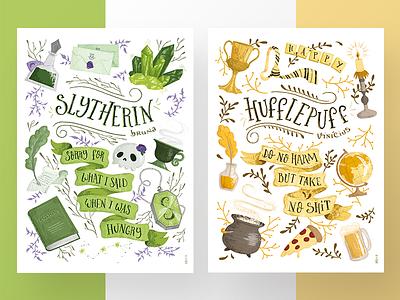 Hogwarts posters harry potter lettering illustration hufflepuff slytherin hogwarts