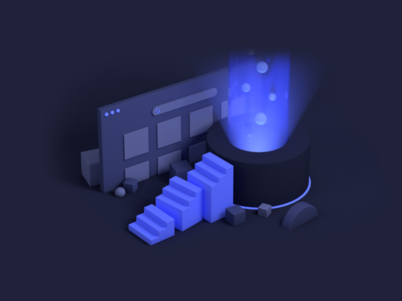 Scale Personalization blogpost stairs light dark design branding illustrator algolia 3d c4d illustration
