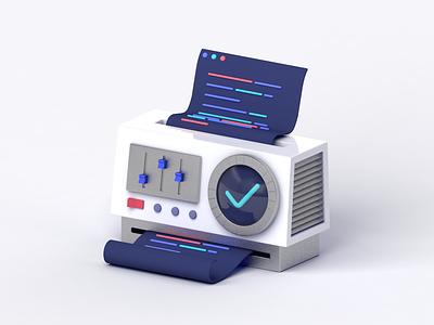 Code Testing Machine validate tech startup code software minimalist machine illustration dieter rams design c4d algolia 3d