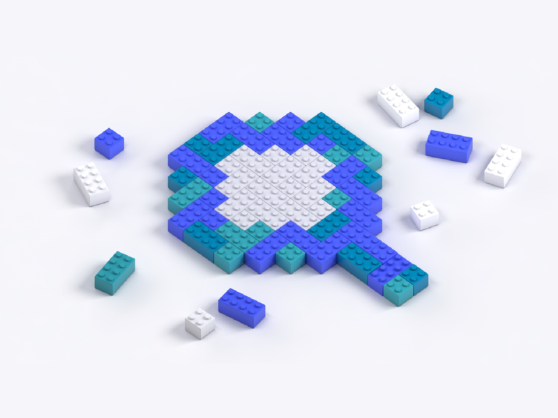 Search Lego Building Blocks minimalist tech algolia 3d c4d connect build magnifying glass search lego design illustration