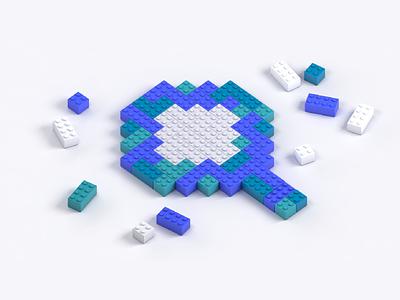 Search Lego Building Blocks minimalist tech algolia 3d c4d connect build magnifying glass search lego design illustration