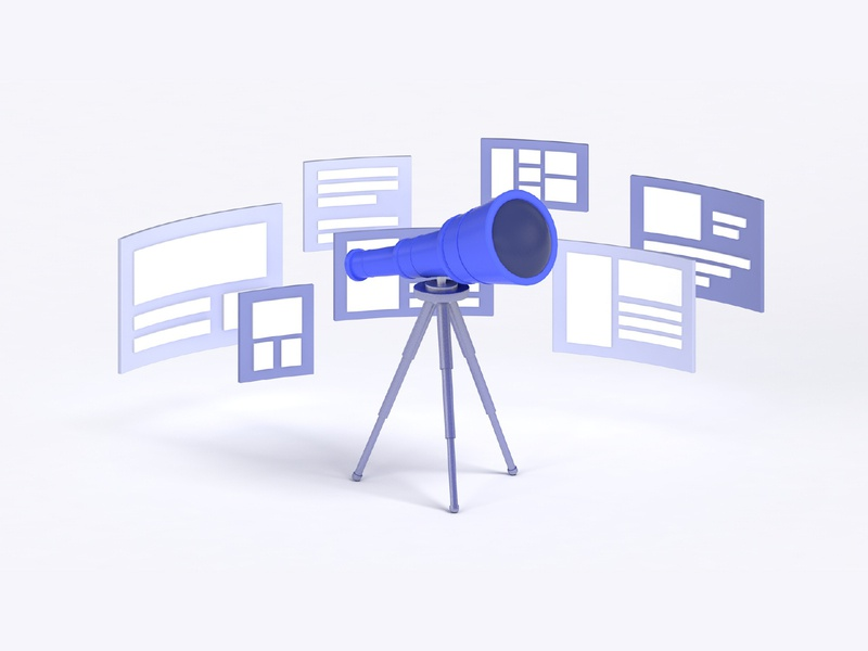 Discover Content tech content minimal design c4d 3d illustration algolia telescope discover