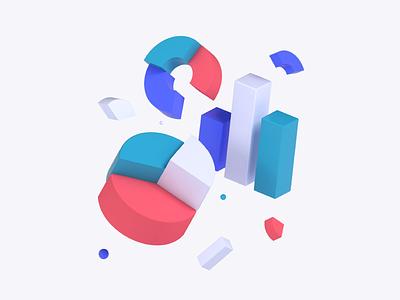 Graphs & Charts minimalist shapes startup tech design illustration chart graph c4d 3d algolia