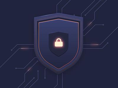 Security Issue tech dark design vector lock secure security shield illustration algolia