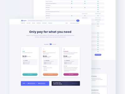Pricing Page Exploration plans ui tech algolia sketch webdesign page pricing