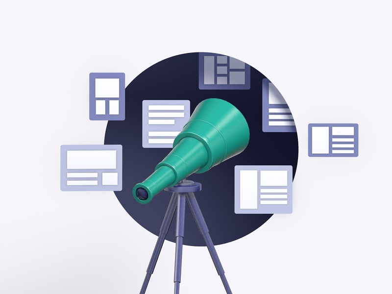 Site Search And Discovery data design illustration c4d 3d discovery search algolia telescope
