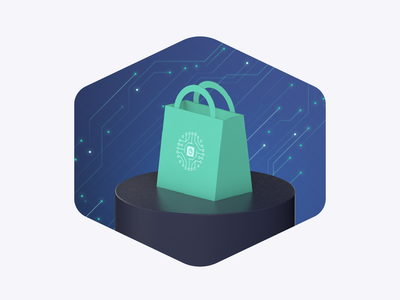 Artificial Intelligence For Retail branding vector illustrator tech dark design illustration artificial intelligence ai shopping bag ecommerce algolia