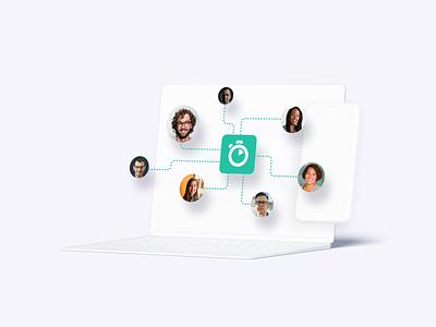 AI Solutions clean mockup ai feature website illustration design animation algolia devices