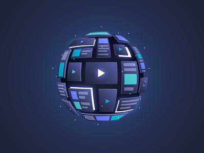 Artificial Intelligence for Media vector glow tech dark illustrator illustration design article tv screens sphere media artificial intelligence algolia ai