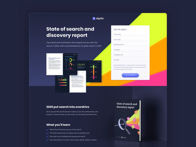 Landing Page - State of Search and Discovery tech sketch branding design webdesign ui webpage form ebook report discovery search state algolia landing page