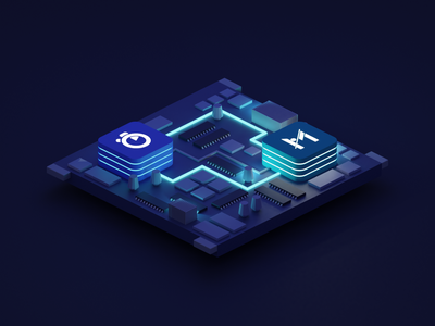 Motherboard isometric glow dark illustration design 3d blender motherboard startup tech algolia