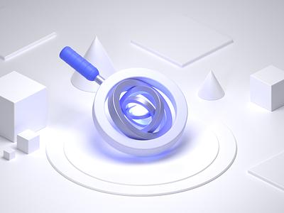 AI Powered Site Search minimalist ai startup tech illustration design algolia search 3d blender