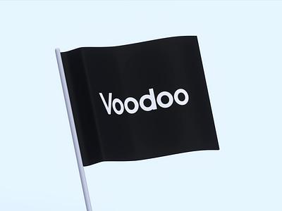 Flag illustration design black tech voodoo flag 3d blender loop animation