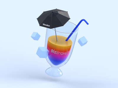 Cocktail Time! design umbrella asquisition voodoo minimalist blender 3d milkshake cocktail glass illustration