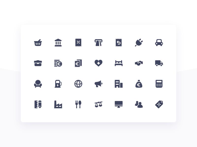 New Icon Set Qonto App ui design app vector illustrator illustration category transaction qonto bank product iconset set icon