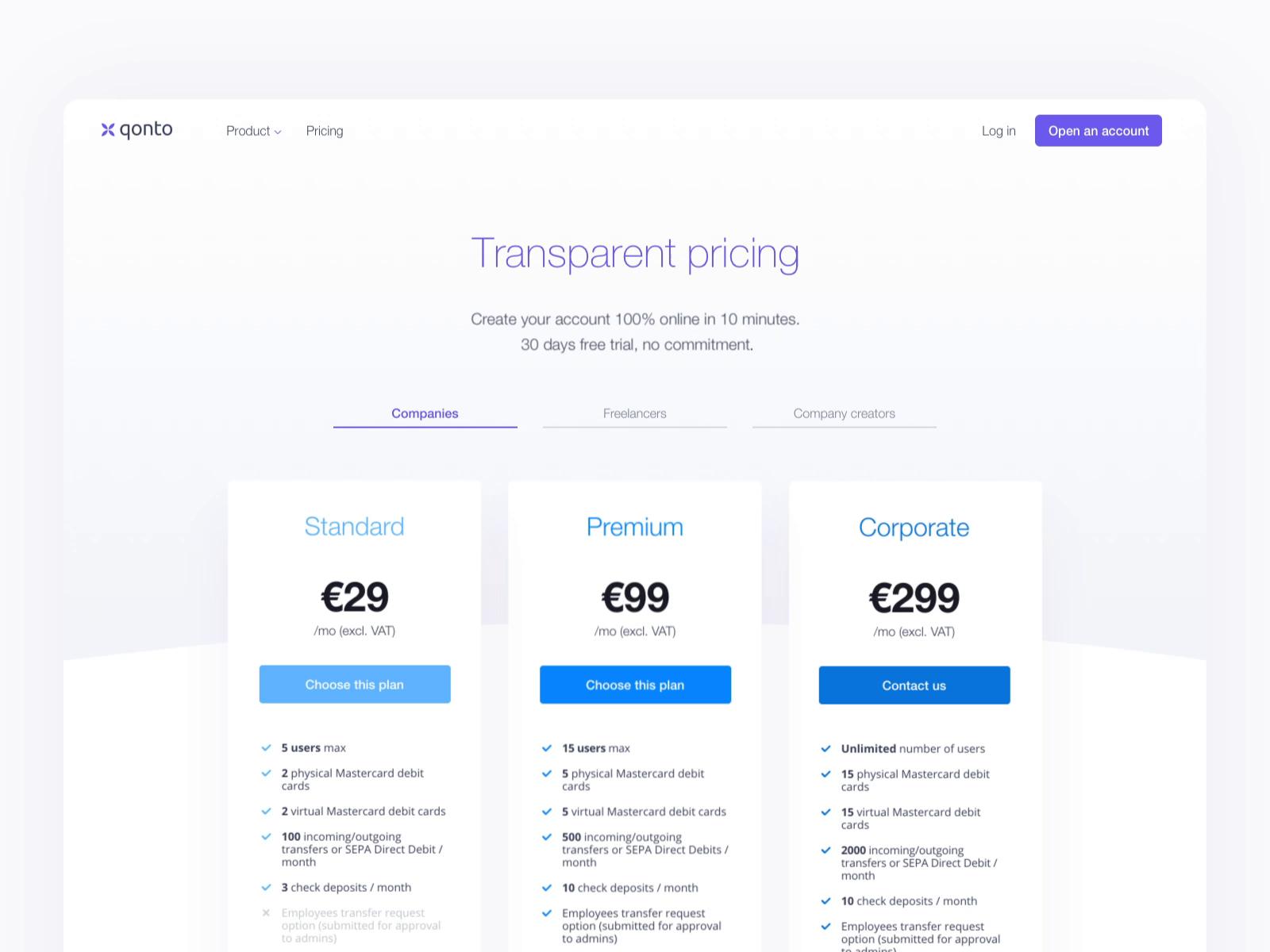 Qonto landing pricing page animation tom souverain