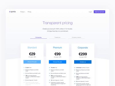 Qonto Pricing Page design plan switch bank sketch animation webdesign landing qonto pricing