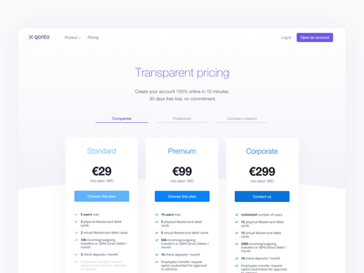 Qonto Pricing Page design plan switch bank sketch animation webdesign landing qonto pricing