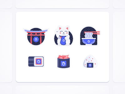 Japan Stickers kawaii print graphic design illustration algolia japan goodies stickers