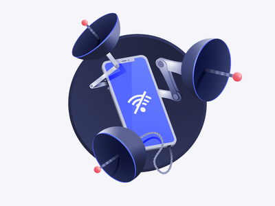 Search With Low Wi-fi Connection vector design parabolic device antenna network connection wifi iphone illustrator illustration algolia