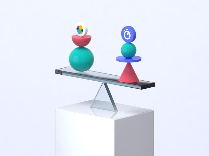 Algolia VS Competitors - 3D Exploration experiment design illustration minimalist shapes compare balance vs algolia 3d c4d