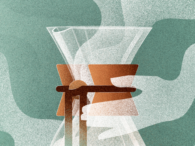 Chemex. hand steam chemex coffee photoshop gradient illustration digital