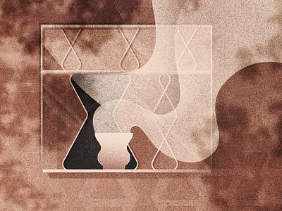 Summer breeze coffee shadow chemex summer window steam wind coffee photoshop gradient illustration digital