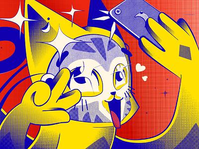 Cosmetics anime cat illustrator cosmetics manga illustration gradient digital character cat asian anime