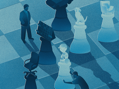 Working remote - who wins and who loses editorial magazine science working people grain blue chess work remote illustration