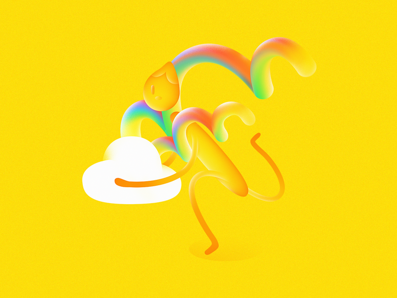 It's a double rainbow! digital 2d exciting carry double rainbow hurry run love rainbow paint clouds yellow photoshop character gradient illustration digital