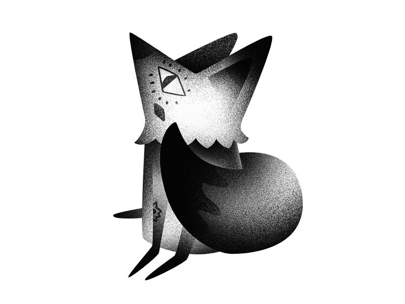 Stargazing fox fox noise black  white gazing animal photoshop character gradient illustration digital