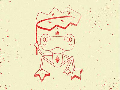 Frog King red playful noise animal character illustration digital umbrella frog