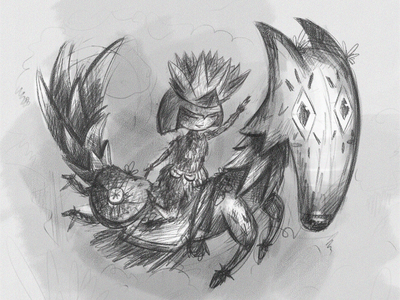 Lotus princess and her trustful fox black and white sketch adventure character photoshop illustration digital