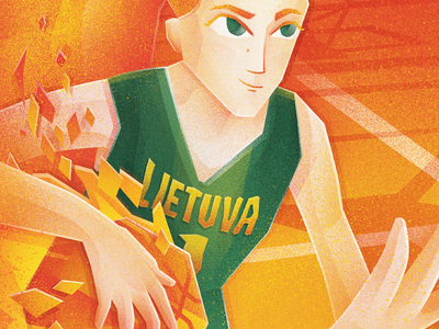 Girl basket ball player basketball court fire sports people basketball photoshop gradient illustration digital