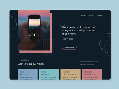 People don't know what they want until you show them quote steve jobs landing page homepage home digital agency company website web design web ux uiux ui product minimal interface concept clean design