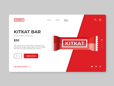 Kit Kat packaging redesign packaging website web design chocolate product red simple ux ui modern minimal kitkat candy ecommerce online shop store concept clean design