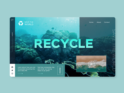 Recycle teal gradient planet homepage landing page ocean natural earth recycle ux ui simple interface website web design product minimal concept clean design