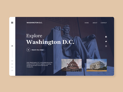 Explore Washington D.C. museums monuments tour video modern simple travel washington dc homepage landing page ux ui interface website web design product minimal concept clean design