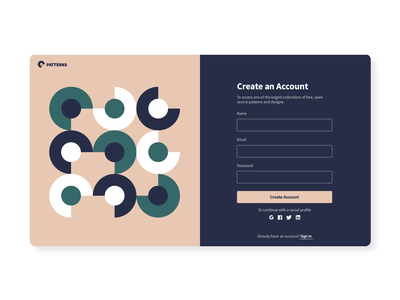 Patterns geometric modern create account registration form register create account registration simple pattern ux ui interface website web design product minimal concept clean design