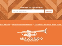 Footer form subscribe email address footer analog audio mn minnesota minneapolis