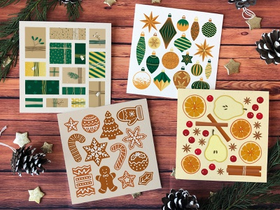 Christmas Cards for 2020 spice fruit gifts presents gingerbread cookies baubles christmas card christmas colourful paper print print design illustration