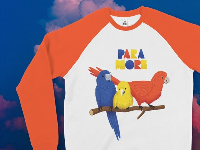 Paramore T-Shirt Design for Impericon's Call for Artists merchandise design merchandise bandmerch yellow blue red clouds mockup tshirt bugies parrots birds music band paramore colourful illustrator illustration