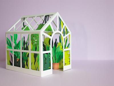 Greenhouse greenhouse green foliage leaves papercut paper illustrator illustration mailer