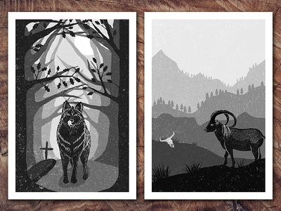 Chapter Illustrations for Penguin black and white grayscale animals digital art digital tree penguin random house penguin illustrator illustration ibex wolf