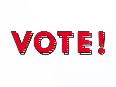 Vote! illustration words typography font text type paper paper cut 2017 general election labour vote